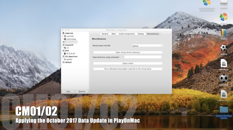 How to update CM0102 data on MacOS OSX